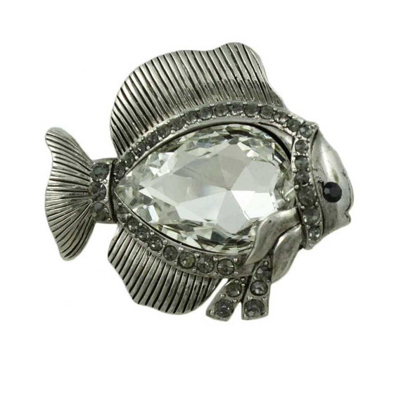 Fish with Large Clear Glass Stone and Gray Crystals Brooch Pin - Lilylin Designs