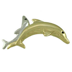 Gold-plated and Silver-tone Pair of Dolphins Brooch Pin - Lilylin Designs