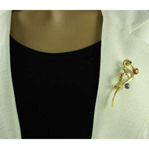 Model with Gold with Colored Crystals Abstract Swan Brooch Pin - Lilylin Designs