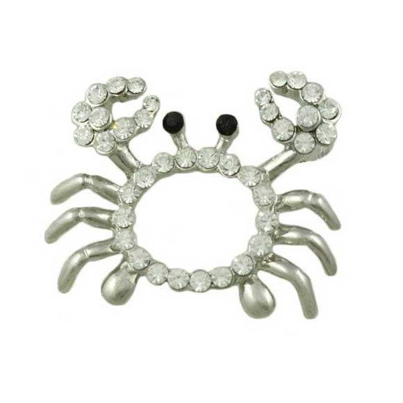 Open Crab with Clear Crystal Body and Black Eyes Brooch Pin - Lilylin Designs