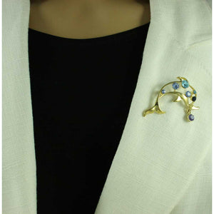 Model with Open Dolphin with Blue Crystals and Crystal Ball Brooch Pin - Lilylin Designs