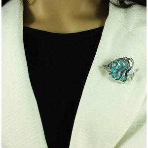 Model with Silver-tone Fish with Large Aqua Stone Fish Brooch Pin - Lilylin Designs