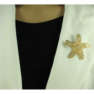 Model with Gold-plated Starfish with Clear Crystals and Flower Brooch Pin -Lilylin Designs
