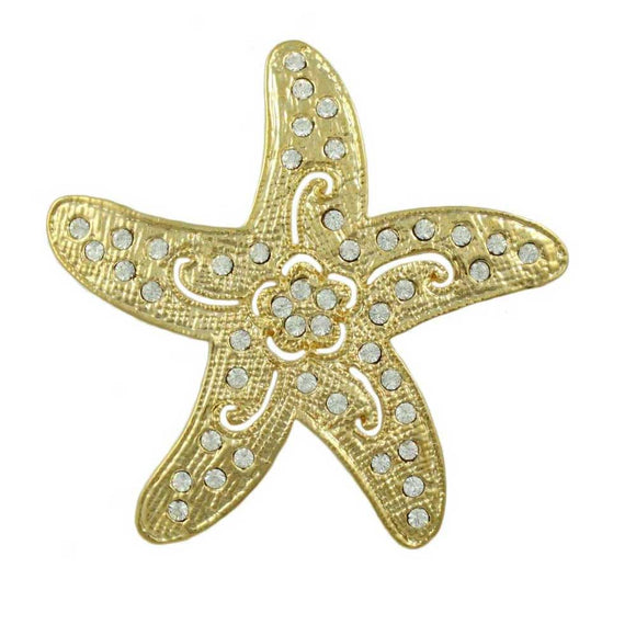 Gold-plated Starfish with Clear Crystals and Flower Brooch Pin - Lilylin Designs