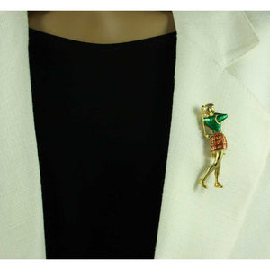 Model with Female Golfer with Green and Orange Enamel Brooch Pin - Lilylin Designs