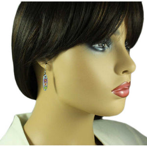 Model with Sparkling Purple Floral Necklace and Matching Earring Jewelry Gift Set (er) - Lilylin Designs