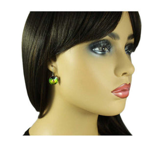 Model with Iridescent Round Crystal Dangle Pierced Earring - Lilylin Designs