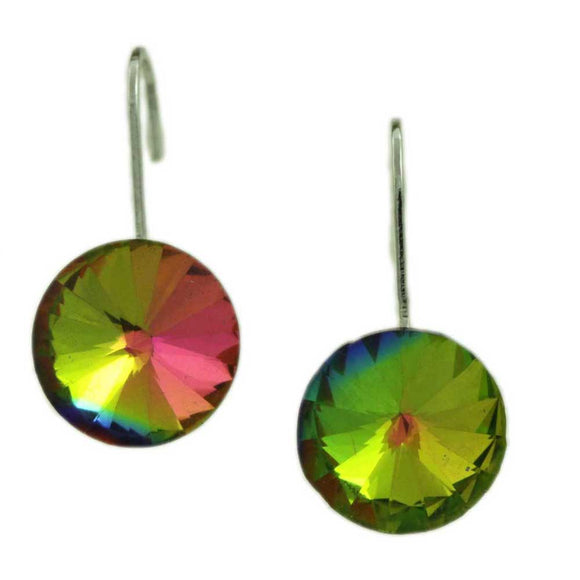 Iridescent Round Crystal Dangle Pierced Earring - Lilylin Designs