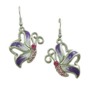 Purple and White Enamel with Pink Crystal Butterfly Pierced Earring - Lilylin Designs