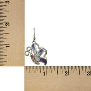 Purple and White Enamel with Pink Crystal Butterfly Pierced Earring (sized) - Lilylin Designs