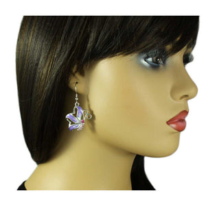 Model with Purple and White Enamel with Pink Crystal Butterfly Pierced Earring - Lilylin Designs
