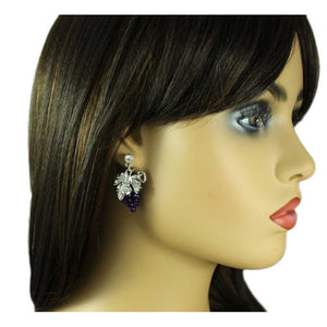 Model with Purple Lucite Grapes with Silver Leaves Dangling Pierced Earring - Lilylin Designs