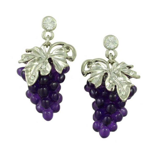 Purple Acrylic Grapes with Silver Leaves Dangling Pierced Earring - Lilylin Designs