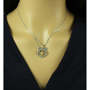 Model with Silver Chain with Silver and Gold Cat Head Pendant - Lilylin Designs