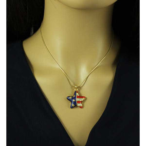 Enamel and Crystal Patriotic Star Pendant with Gold-tone Chain- PT326