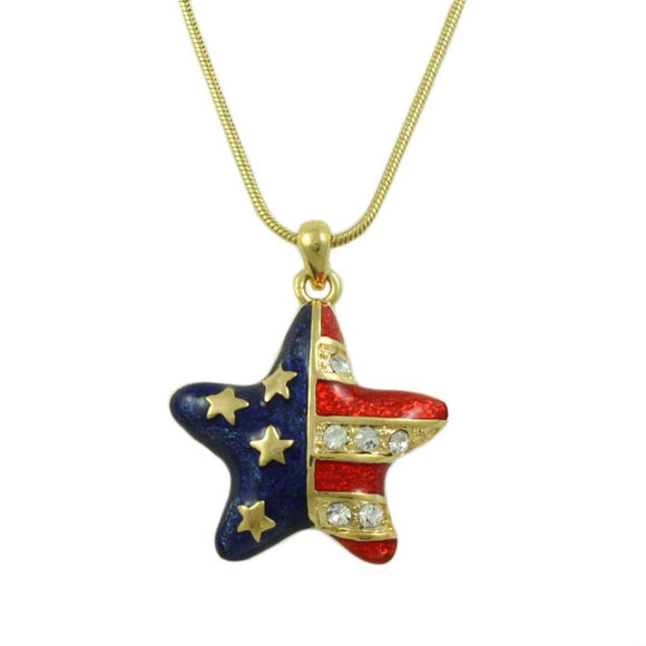 Enamel and Crystal Patriotic Star Pendant with Gold-tone Chain - Lilylin Designs