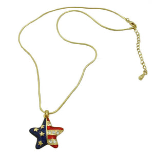Enamel and Crystal Patriotic Star Pendant with Gold-tone Chain (whole) - Lilylin Designs
