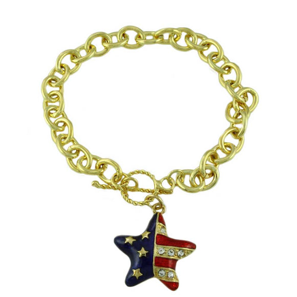 Link Bracelet with Red, White, and Blue Patriotic Star Charm - Lilylin Designs