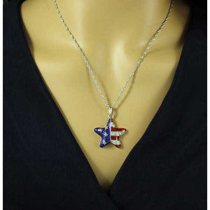 Silver Chain with Patriotic Star Pendant - PT326S