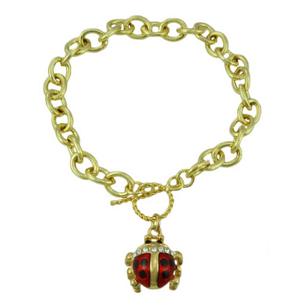 Gold-tone Links with Enamel Ladybug Charm Bracelet - Lilylin Designs
