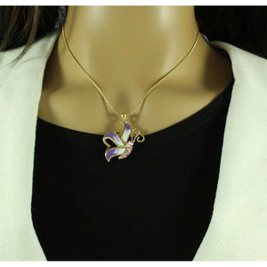 Model with Gold Chain with Purple Enamel and Crystal Profile Butterfly Pendant - Lilylin Designs