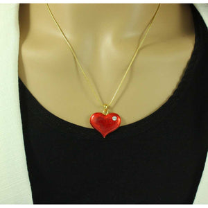 Model with Red Enamel and Crystal Heart Pendant with Chain - Lilylin Designs