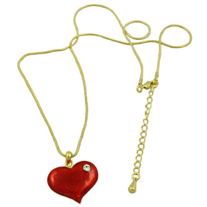 Red Enamel and Crystal Heart Pendant with Chain (whole) - Lilylin Designs