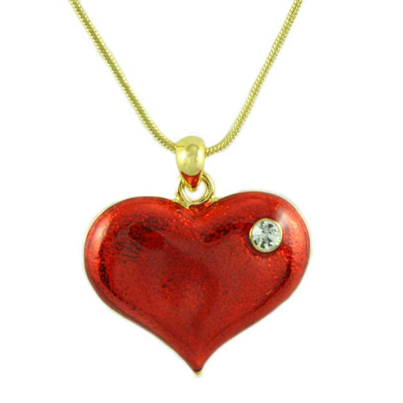 Goldtone Chain with Red Enamel Heart Pendant - Lilylin Designs