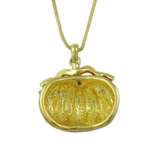 Orange Enamel Pumpkin Pendant with Gold-tone Chain Halloween Necklace (back) - Lilylin Designs