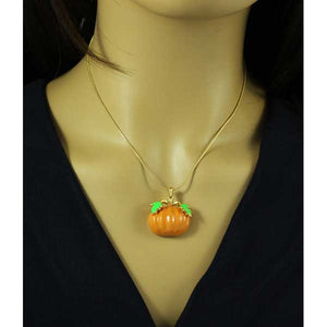 Model wearing Orange Enamel Pumpkin Pendant with Gold Chain Halloween Necklace - Lilylin Designs