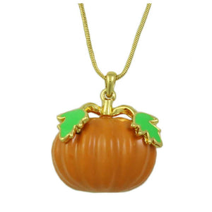 Orange Enamel Pumpkin Pendant with Gold-tone Chain Halloween Necklace - Lilylin Designs