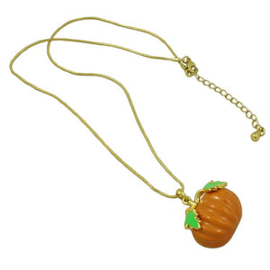 Orange Enamel Pumpkin Pendant with Gold-tone Chain Halloween Necklace (whole) - Lilylin Designs