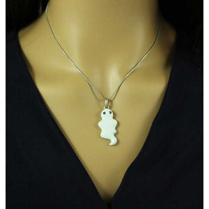 Model wearing Silver Chain with White Enamel Ghost Pendant Halloween Necklace - Lilylin Designs
