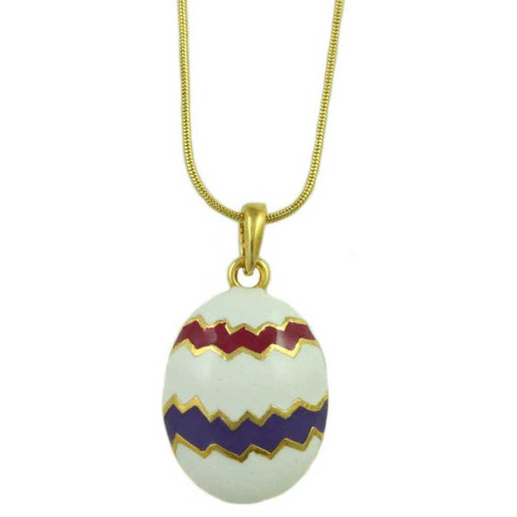 Chain with White, Hot Pink, and Purple Enamel Easter Egg Pendant - Lilylin Designs