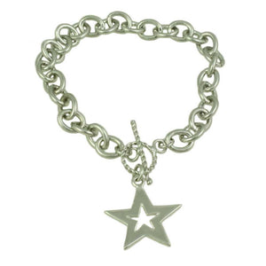 Link Bracelet with Silver-tone and Gold-tone Star Charm (back) - Lilylin Designs