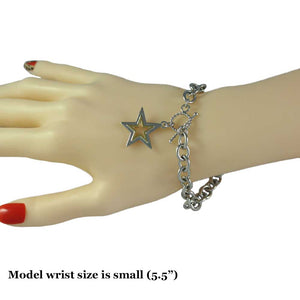 Model with Link Bracelet with Silver-tone and Gold-tone Star Charm - Lilylin Designs