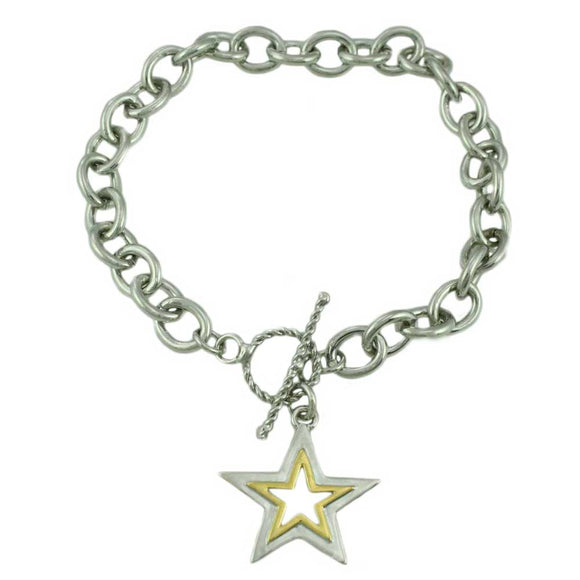 Link Bracelet with Silver-tone and Gold-tone Star Charm - Lilylin Designs