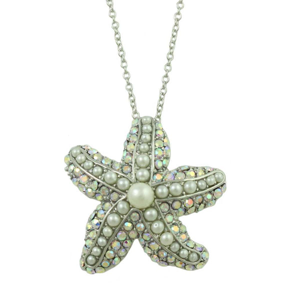Silver-tone Chain with Crystal and Pearls Starfish Pendant - Lilylin Designs