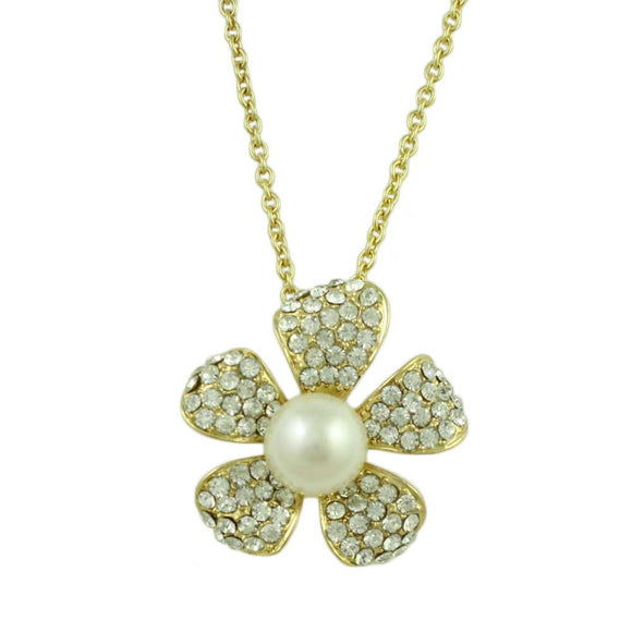 Chain with Crystal and Pearl Flower Pendant - Lilylin Designs