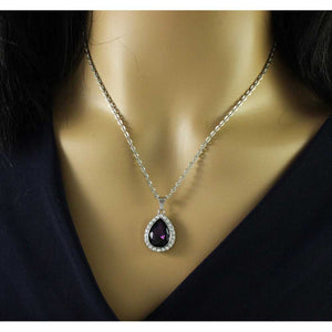 Model with Chain with Purple Crystal Teardrop Pendant - Lilylin Designs