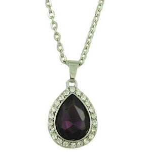 Chain with Purple Crystal Teardrop Pendant - Lilylin Designs