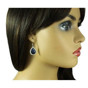 Model with Dark Blue Crystal Teardrop Dangling Pierced Earring - Lilylin Designs