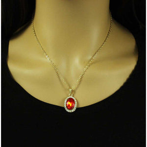 Model with Red Oval Crystal Necklace with Matching Pierced Earring Gift Set (neck) - Lilylin Designs