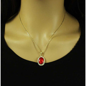 Chain with Red Oval Crystal Surrounded by Clear Crystals Pendant - PT411S