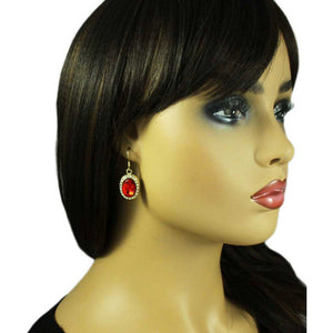 Model with Red Oval Crystal Necklace with Matching Pierced Earring Gift Set (er) - Lilylin Designs