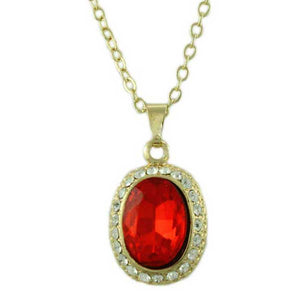 Red Oval Crystal Necklace with Matching Pierced Earring Gift Set (neck) - Lilylin Designs