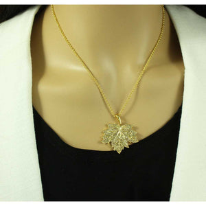 Model with Chain with Light Topaz Crystal Maple Leaf Pendant - Lilylin Designs