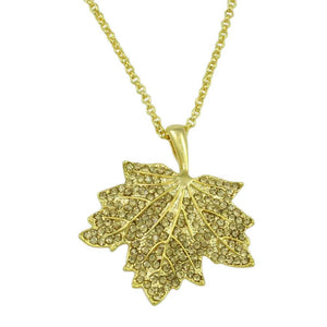 Chain with Light Topaz Crystal Maple Leaf Pendant - Lilylin Designs