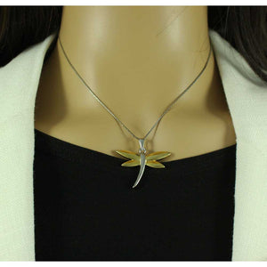 Model with Chain with Two Tone Dragonfly Pendant - Lilylin Designs