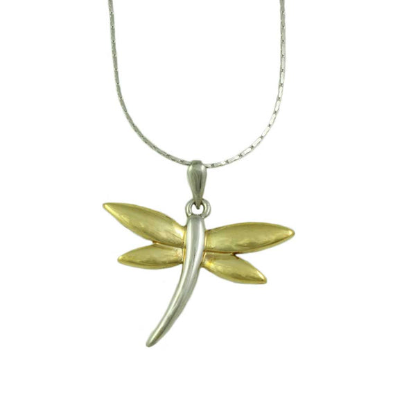 Chain with Two Tone Dragonfly Pendant - Lilylin Designs